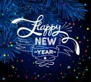 Poner letras a Feliz Año Nuevo Bola de Navidad en rama de árbol de navidad y fondo del confeti Tarjeta de felicitación del vector libre illustration