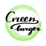 Poner letras a la hamburguesa del verde de la inscripción ilustración del vector