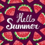 Poner letras a rebanadas del verano y de la sandía del hola en el fondo oscuro libre illustration