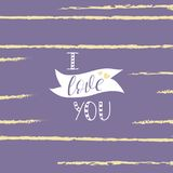 Poner letras te amo a la fuente caligráfica, dibujo de la mano Fuente individual Declaración del amor Colores de moda Foto de archivo libre de regalías