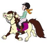 Poney d'équitation de fille Photographie stock libre de droits