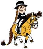Poney d'équitation de petite fille Sport équestre de dressage illustration de vecteur