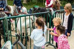 Poneys d'animal familier d'enfants dans Jardin De Luxembourg, Paris, France Photographie stock libre de droits