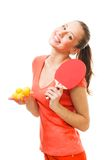 愉快的砰球员pong妇女 免版税图库摄影