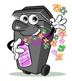 "Pong gone with perfumed spray. Cartoon illustration of wheelie bin drawn as a smiling character  using a bottle of perfumed spray labelled ""pong gone"" in Stock Image"