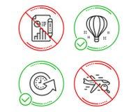 Ponga al d?a el tiempo, el bal?n de aire y sistema de los iconos de documento del informe Muestra del vuelo de la b?squeda Vector stock de ilustración