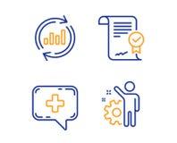 Ponga al d?a los datos, la charla m?dica y el sistema aprobado de los iconos del acuerdo Muestra del empleado Vector stock de ilustración