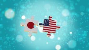 Ponga el rompecabezas a Japón y a la bandera de los E.E.U.U. stock de ilustración