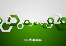 Ponga en contraste el fondo verde y gris de la tecnología con hexágonos stock de ilustración