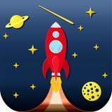 Ponga en marcha el cohete en espacio con el backroud azul stock de ilustración