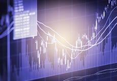 Ponga en un índice el gráfico del análisis financiero del indicador del mercado de acción en el LED Fotos de archivo