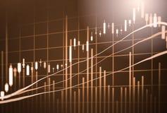 Ponga en un índice el gráfico del análisis financiero del indicador del mercado de acción en el LED Imagen de archivo libre de regalías