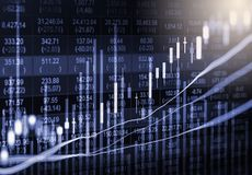 Ponga en un índice el gráfico del análisis financiero del indicador del mercado de acción en el LED Foto de archivo libre de regalías