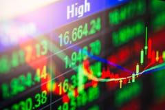Ponga en un índice el gráfico del análisis financiero del indicador del mercado de acción en el LED Fotos de archivo libres de regalías