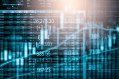 Ponga en un índice el gráfico del análisis financiero del indicador del mercado de acción en el LED Imagenes de archivo