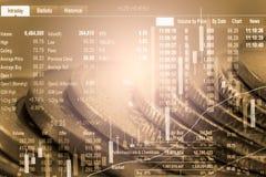 Ponga en un índice el gráfico del análisis financiero del indicador del mercado de acción en el LED Fotografía de archivo