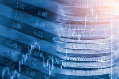 Ponga en un índice el gráfico del análisis financiero del indicador del mercado de acción en el LED Foto de archivo