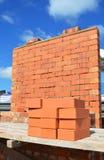Ponga i mattoni come un muratore Concept con lo spazio della copia Fotografie Stock