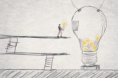 Ponga las pequeñas ideas en la grande ilustración del vector