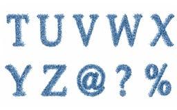 Ponga letras a la parte 3 del alfabeto de las gotas del agua Imagenes de archivo