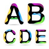 Ponga letras a un B C D E Imagen de archivo libre de regalías