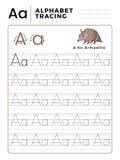 Ponga letras a un libro del trazo del alfabeto con ejemplo y la historieta divertida del armadillo Hoja de trabajo preescolar par ilustración del vector