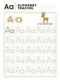 Ponga letras a un libro del trazo del alfabeto con ejemplo y la historieta divertida de los ciervos del antílope Hoja de trabajo  libre illustration