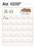 Ponga letras a un libro del trazo del alfabeto con ejemplo y la historieta divertida del oso hormiguero Hoja de trabajo preescola ilustración del vector