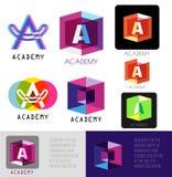 Ponga letras a una insignia Letra A de la plantilla Iconos del logotipo de la academia ilustración del vector