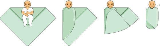 Ponga los pañales a un bebé Instrucciones para el uso imagen de archivo
