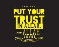 Ponga su confianza en Alá, y Alá ama los que confíen en él stock de ilustración