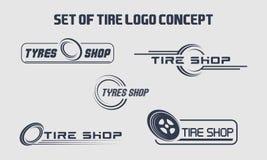 Ponga un neumático el negocio que califica, iconos de la tienda del logotipo del neumático, iconos del neumático, iconos simples  libre illustration