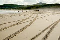 Ponga un neumático las marcas en una duna de conducción campo a través de la playa Imágenes de archivo libres de regalías