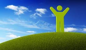 Ponga verde al hombre del símbolo que se coloca en la tierra verde Imagenes de archivo