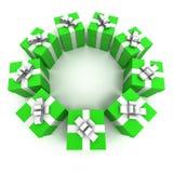 Ponga verde el círculo 2 de los rectángulos de regalo stock de ilustración