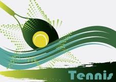 Ponga verde el campo de tenis stock de ilustración