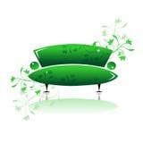 Ponga verde el diseño del sofá ilustración del vector
