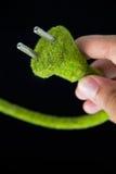 Ponga verde el enchufe eléctrico Imagen de archivo