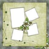 Ponga verde el fondo abstracto con los marcos Fotografía de archivo