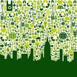 Ponga verde el fondo de los iconos del eco de la ciudad Fotos de archivo libres de regalías