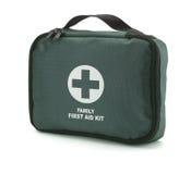 Ponga verde el kit de primeros auxilios aislado en el blanco (el camino) Foto de archivo