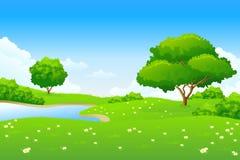 Ponga verde el paisaje Foto de archivo libre de regalías