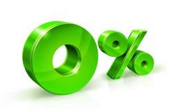 Ponga verde el por ciento cero o 0 aislado en el fondo blanco con la reflexión Tipo de interés cero del por ciento, impuesto ilustración del vector