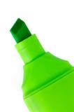 Ponga verde el primer macro de la etiqueta de plástico aislado Fotografía de archivo