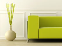 Ponga verde el sofá en el sitio blanco Fotografía de archivo
