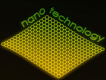 Ponga verde el texto fluorescente de la nanotecnología stock de ilustración