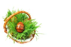 Ponga verde la cesta de Pascua Fotografía de archivo