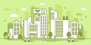 Ponga verde la ciudad Fotografía de archivo libre de regalías