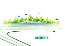 Ponga verde la ciudad Concepto de la ecología Ahorre la vida y el ambiente libre illustration