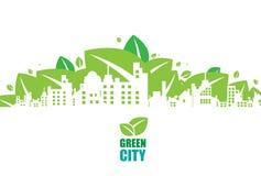 Ponga verde la ciudad Concepto de la ecología Ahorre la vida y el ambiente stock de ilustración
